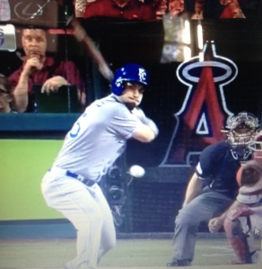 Here Are A Front And Side Freeze Frame From The Vine Video Of Eric Hosmers Home Run In 12th Inning ALDS Against Angels Hitting Position